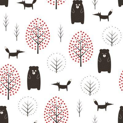 Fototapete Bär, Fuchs und nahtloses Muster der Bäume auf weißem Hintergrund. Einfache skandinavische Artnaturillustration. Netter Wald mit Tieren entwerfen für Gewebe, Tapete, Gewebe.