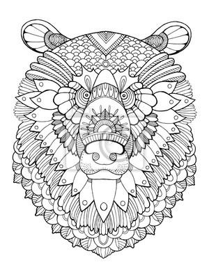 Bär Kopf Färbung Buch Vektor-Illustration