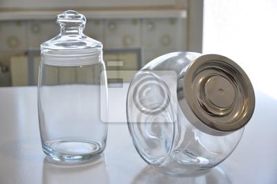 Fototapete: Barattoli contenitori per alimenti, su tavolo in cucina