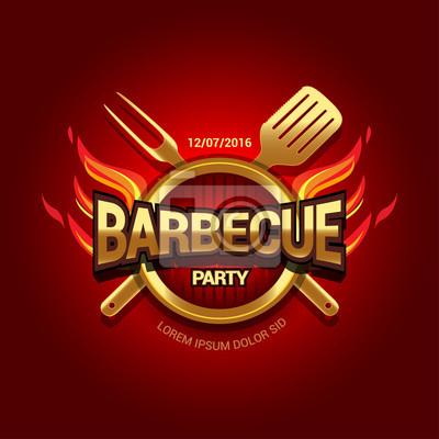 Barbecue-partylogo, parteieinladungsschablone. abbildung. fototapete ...