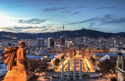 Fototapete Barcelona an der blauen Stunde, Spanien