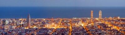 Fototapete Barcelona Skyline Panorama in der blauen Stunde