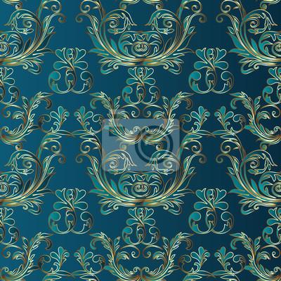 Barock Damast Mittelalterlichen Floralen Vektor Nahtlose Muster Fototapete Fototapeten Mittelalter Grun Turkis Myloview De