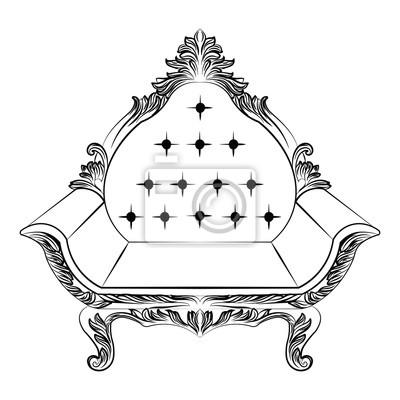 Fototapete Barock Luxus Sessel Möbel. Thron Mit Reich Verzierten  Ornamenten. Französisch Luxus Reichen