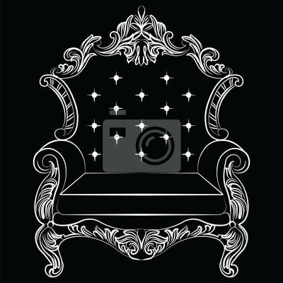 GroB Fototapete Barock Luxus Sessel Möbel. Thron Mit Reich Verzierten  Ornamenten. Französisch Luxus Reichen