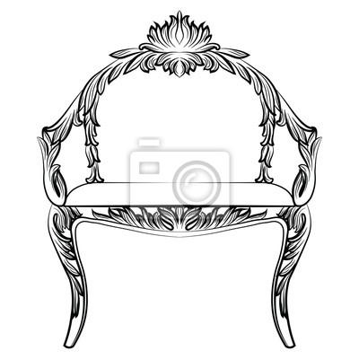 Elegant Fototapete Barock Luxus Sessel Möbel. Thron Mit Reich Verzierten  Ornamenten. Französisch Luxus Reichen