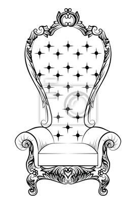 Uberlegen Fototapete Barock Luxus Sessel Möbel. Thron Mit Reich Verzierten  Ornamenten. Französisch Luxus Reichen