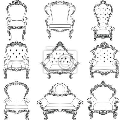 Fototapete Barock Luxus Stil Sessel Möbel Set Sammlung. Thron Mit Reich  Verzierten Ornamenten.