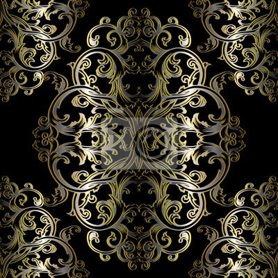 Barock Nahtlose Muster Schwarz Floral Damast Hintergrund Tapeten