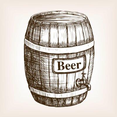 Fototapete Barrel von Bier Skizze Stil Vektor