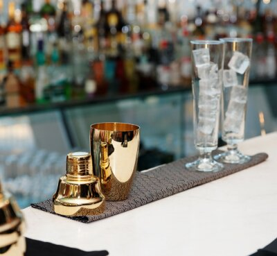 Fototapete Bartender Tools auf Theke, Kopie, Raum