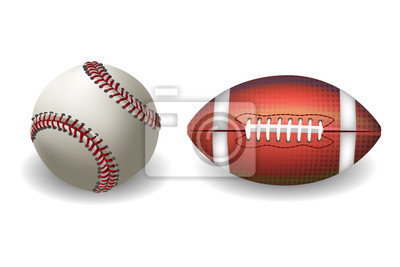 Baseball and Football isolated on white