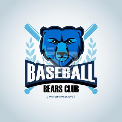 Fototapete Baseball Bear Sport Badge Logo Design Template And Some Elements For Logos