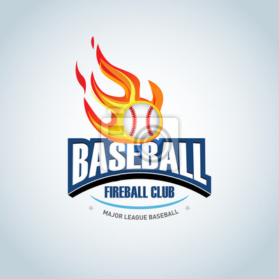 Fototapete Baseball Fireball Sport Badge Logo Design Template And Some Elements For Logos