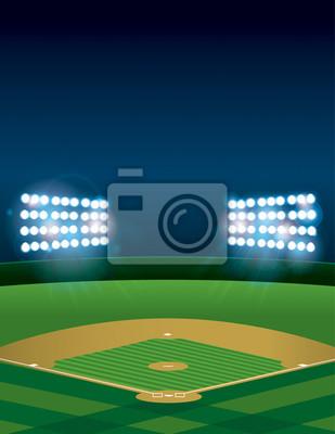 Baseball oder Softball-Feld in der Nacht