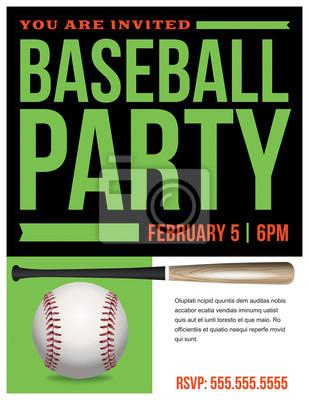 Baseball-Party-Flyer Einladungs-Illustration