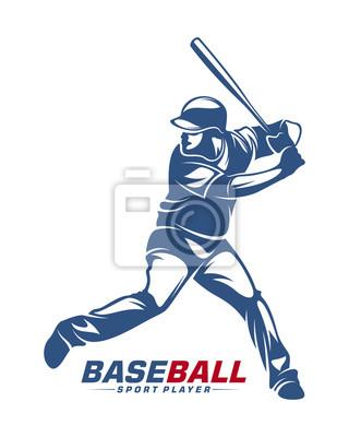 Fototapete Baseball player vector silhouette. Baseball player logo design. Sport club logo design.