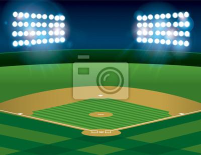 Baseball Softball Field Lit at Night