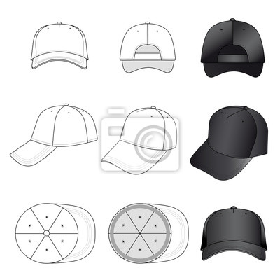 Baseball, tennis cap outlined template fototapete • fototapeten ping ...