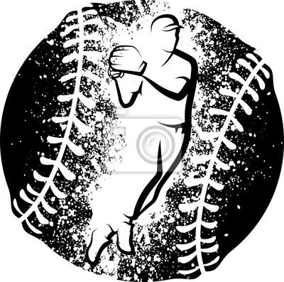 Baseball Throw über einen Grunge Baseball