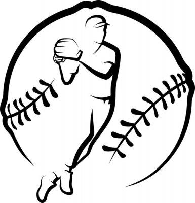 Baseball-Wurf in stilisierten Ball