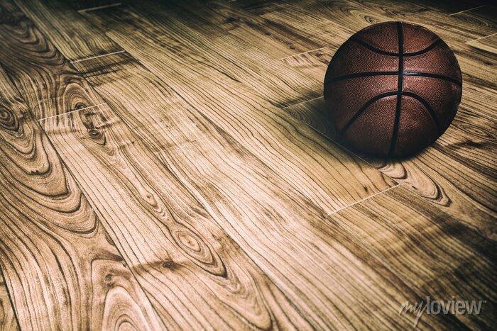 Fototapete Basketball auf Hartholz-2