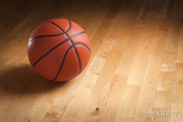 Fototapete Basketball auf Hartholzgericht Stock mit Spot-Beleuchtung