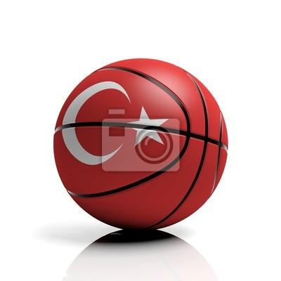 Basketball Ball Flagge der Türkei auf weißem Hintergrund