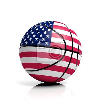 Basketball Ball Flagge USA isoliert auf weißem Hintergrund