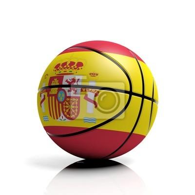 Basketball Ball Flagge von Spanien isoliert auf weißem Hintergrund