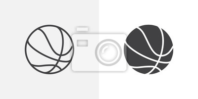 Fototapete Basketball ball icon. line and glyph version, outline and filled vector sign. Rubber ball linear and full pictogram. Sports equipment symbol, logo illustration. Different style icons set