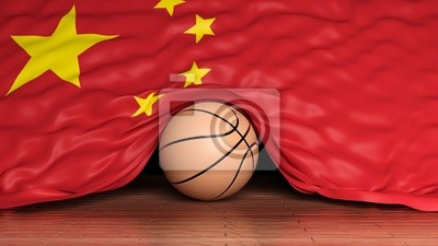 Basketball Ball mit der Flagge von China auf Parkett