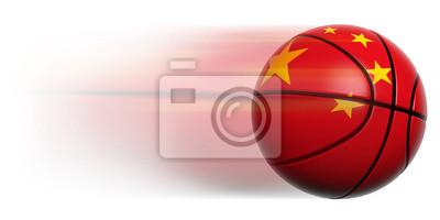 Basketball Ball mit der Flagge von China in Bewegung isoliert