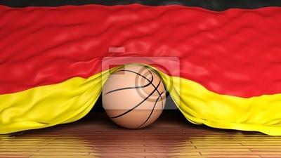Basketball Ball mit der Flagge von Deutschland auf Parkett