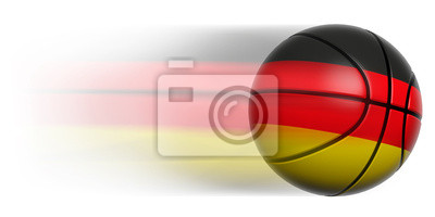 Basketball Ball mit der Flagge von Deutschland in Bewegung isoliert