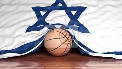 Basketball Ball mit der Flagge von Israel auf Parkett