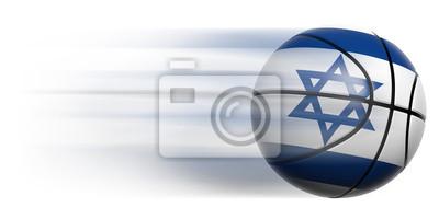 Basketball Ball mit der Flagge von Israel in Bewegung isoliert