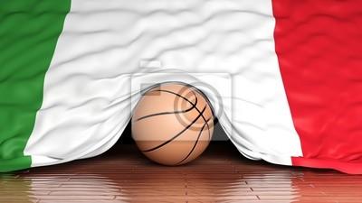 Basketball Ball mit der Flagge von Italien auf Parkett