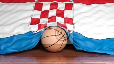 Basketball Ball mit der Flagge von Kroatien auf Parkett