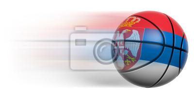 Basketball Ball mit der Flagge von Serbien in Bewegung isoliert