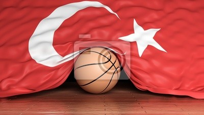 Basketball Ball mit Flagge der Türkei auf Parkett