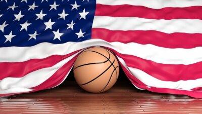 Basketball Ball mit Flagge der USA auf Parkett
