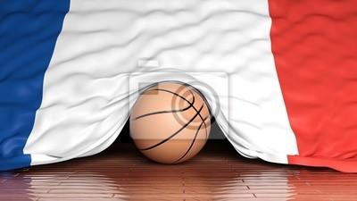 Basketball Ball mit Flagge von Frankreich auf Parkett