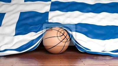 Basketball Ball mit Flagge von Griechenland auf Parkett