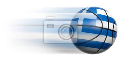 Basketball Ball mit Flagge von Griechenland in Bewegung isoliert