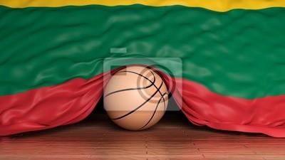 Basketball Ball mit Flagge von Litauen auf Parkett