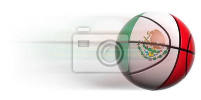 Basketball Ball mit Flagge von Mexiko in Bewegung isoliert