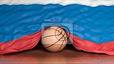 Basketball Ball mit Flagge von Russland auf Parkett