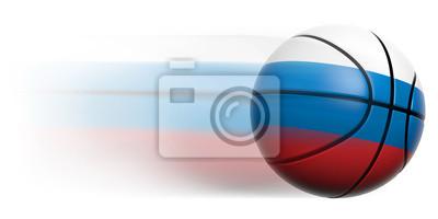 Basketball Ball mit Flagge von Russland in Bewegung isoliert