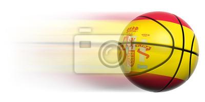 Basketball Ball mit Flagge von Spanien in Bewegung isoliert